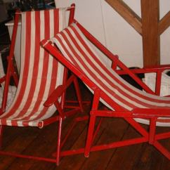 Teak Steamer Chair Ikea Swivel Yellow Pair Of Red And White Striped Canvas Beach Chairs At 1stdibs