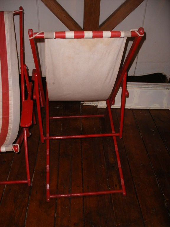 ficks reed chair making morris cushions pair of red and white striped canvas beach chairs at 1stdibs