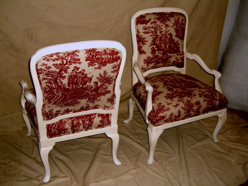 Toile Chair 1920 39s Queen Anne Style Lacquered White Chairs W Toile