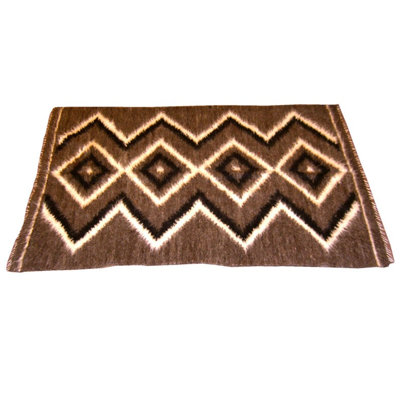 1960S Alpaca Hand Woven Geometric Rug Or Wall Hanging At