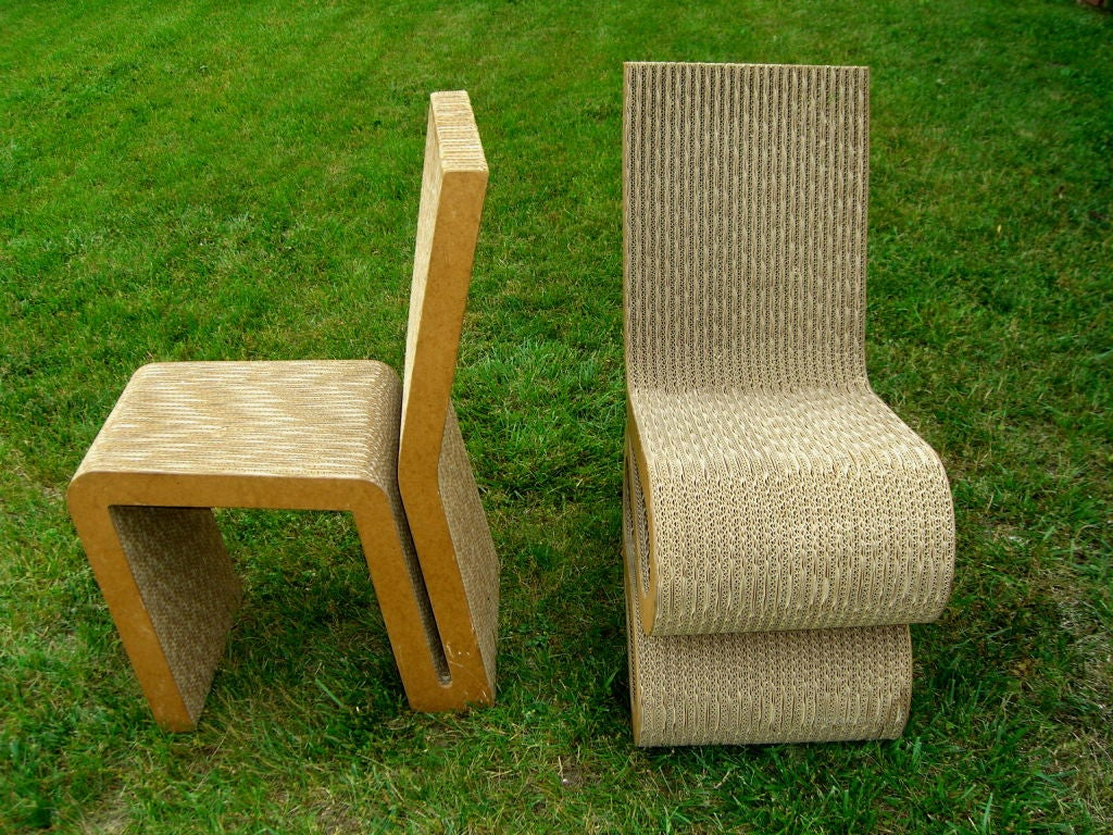 frank gehry cardboard chair timber ridge camp pair of easy edge chairs at 1stdibs