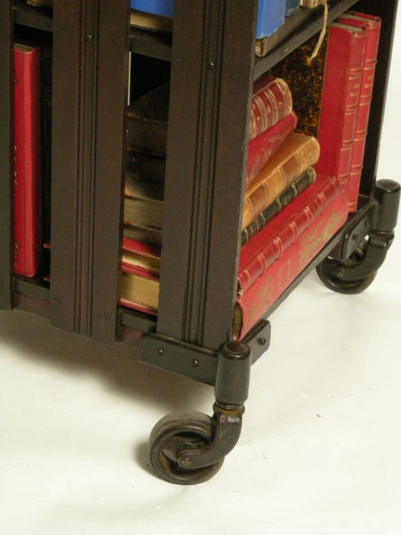 LIBRARYBOOK SHELFBAR CARTSIDE TABLE ON WHEELS At 1stdibs