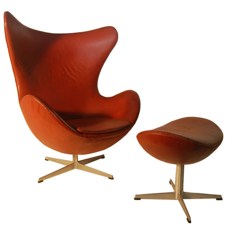Arne Jacobsen Vintage Leather Egg Chair and Ottoman at 1stdibs