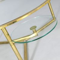 Brass Coffee Table with Rotating Cup Holders at 1stdibs