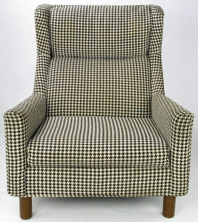 leather swivel barrel chair stacking chairs for less selig club in original black and white houndstooth fabric at 1stdibs
