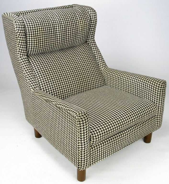 Selig Club Chair In Original Black and White Houndstooth