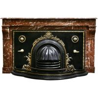 French Antique Marble Mantel with Fireplace Cover at 1stdibs