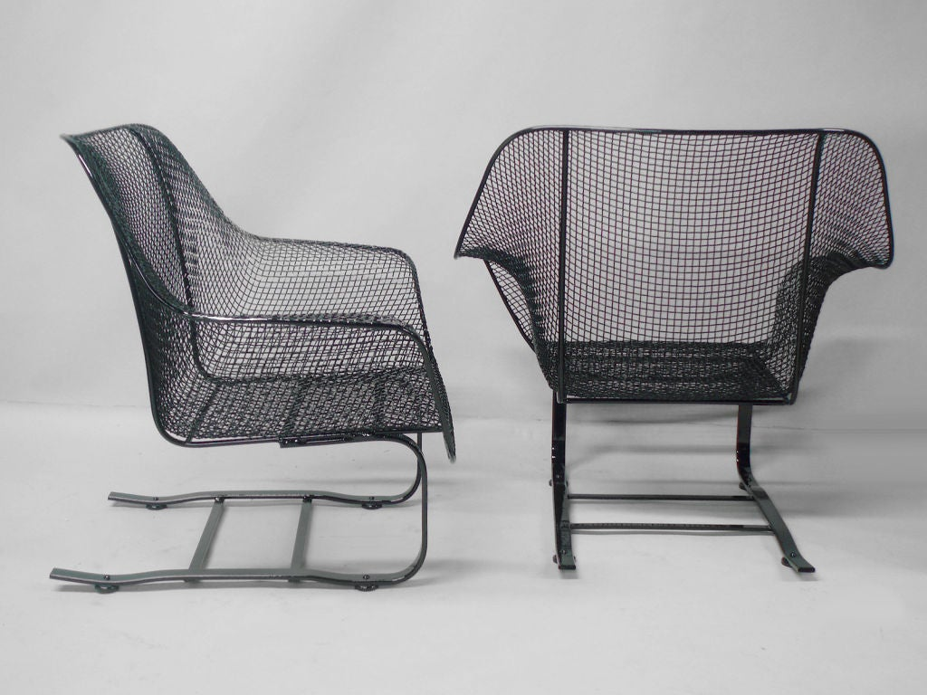Mesh Lounge Chair Pair Of Russell Woodard Steel Mesh Spring Base Lounge