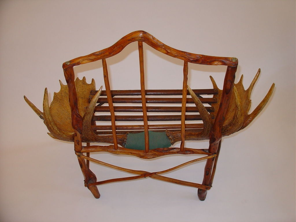 old fashioned birthing chairs country style wingback rustic canadian craftsman moose antler chair for sale at