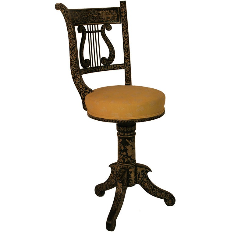 dining chair styles antique black resin chairs a penwork decorated musician's chair. at 1stdibs