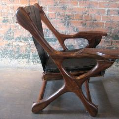Engraved Rocking Chair 2 Table Rosewood Leather Lounge Ottoman By Don