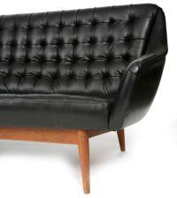 Micro Tufted Black Leather Danish Sofa at 1stdibs