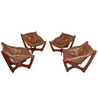 Set of Four Mid-Century Modern Leather Sling Chairs at 1stdibs