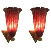 Pair of Hand Blown Murano Glass Sconces at 1stdibs