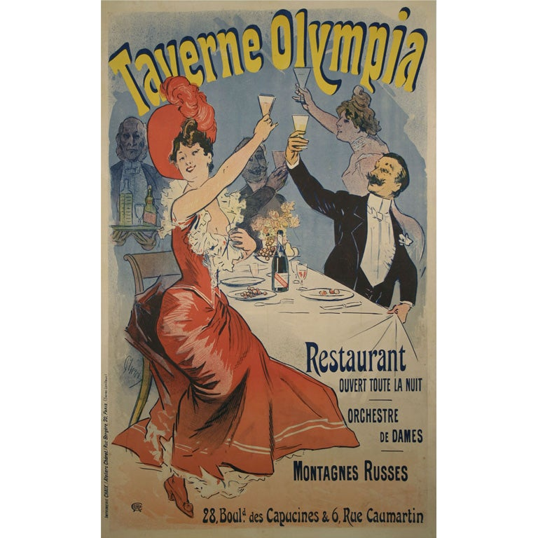 Original French Antique Poster by Jules Cheret. 1899 at 1stdibs