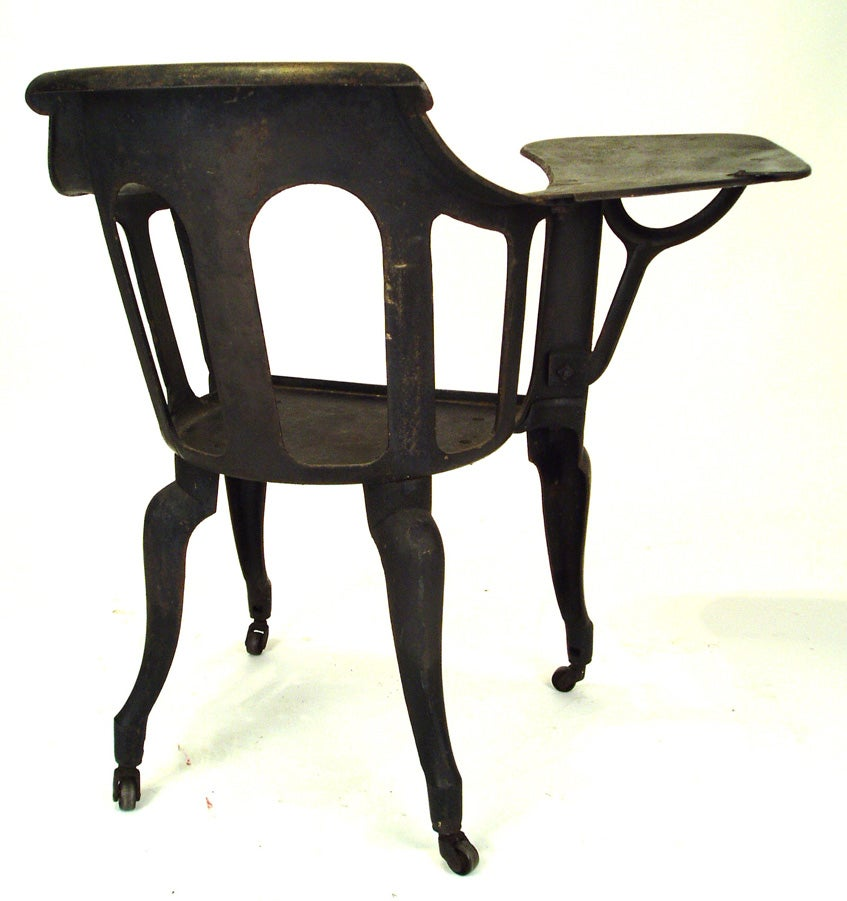 stacking rolling chairs chair cover rentals peterborough antique industrial cast iron schoolhouse at 1stdibs