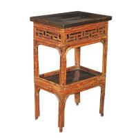 Asian Style Bamboo Painted and Ebonized Two Tier Table at ...