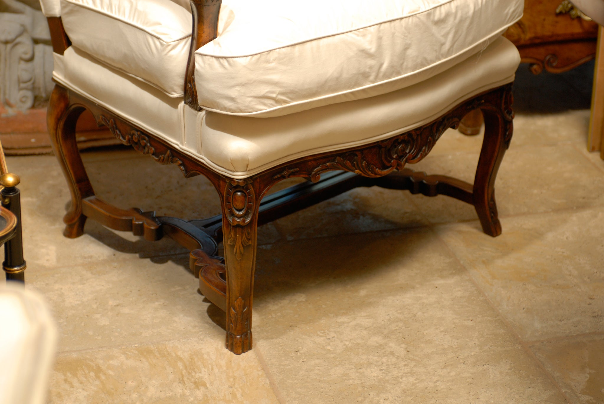Stretcher Chair Louis Xv Style Arm Chair With Stretcher For Sale At 1stdibs