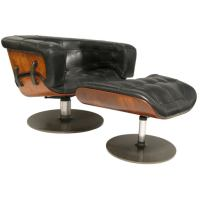 Chair and Ottoman with Laminated Rosewood with Leather at ...
