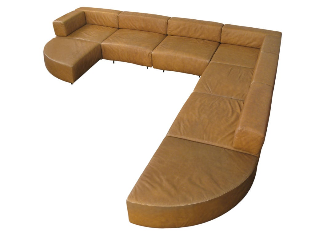 8 piece leather sectional sofa 1 covers by harvey probber at 1stdibs