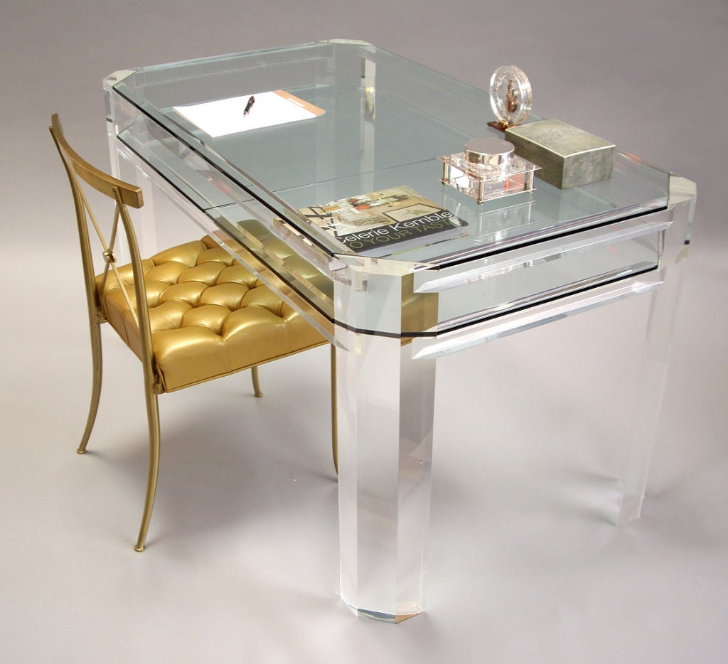 clear desk chairs rocking chair 1970s all thick lucite and glass at 1stdibs