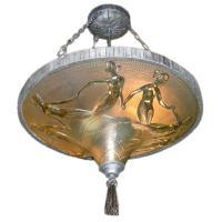 Art Deco Hanging Mermaid Lamp by M. Verdur at 1stdibs