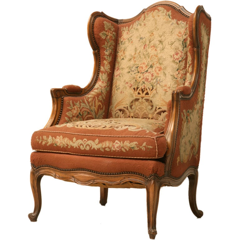 french bergere chair and ottoman tan leather sale c.1900 needlepoint louis xv wing-back at 1stdibs