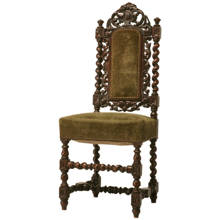c1900 French HandCarved Oak Louis XIII Desk Chair at 1stdibs