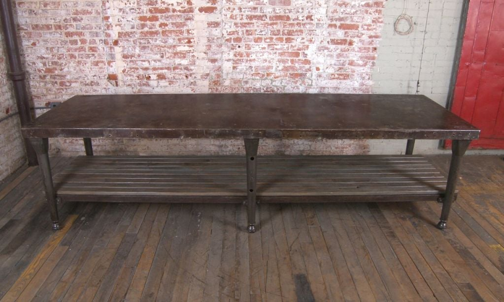 Vintage Industrial Cast Iron and Wood Kitchen Table