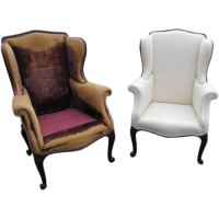 George III Style Carved Mahogany Wing Chairs at 1stdibs