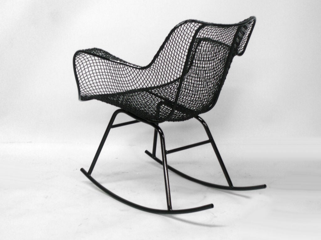 wrought iron rocking chair game rocker a and mesh by russell lee woodard co