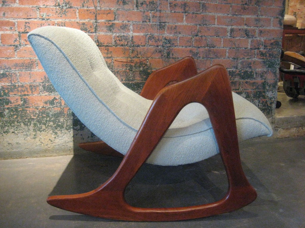 adrian pearsall rocking chair straight back with ottoman craft associates by at 1stdibs
