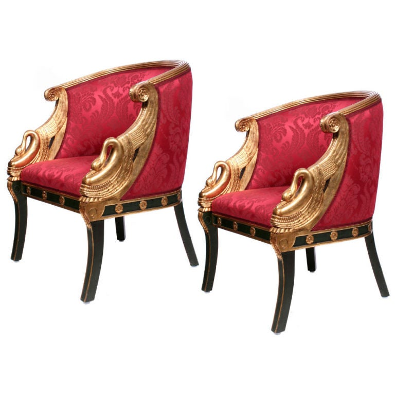 french bergere chair clear dining chairs australia a pair of second empire fauteuil-gondole, france at 1stdibs