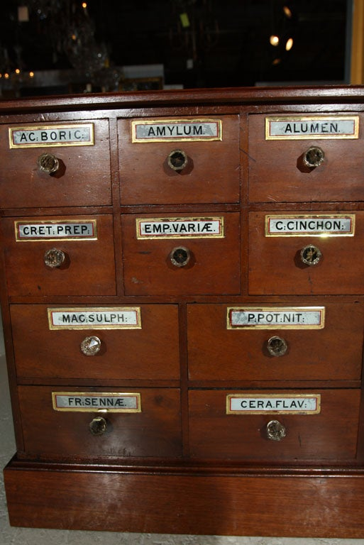 Antique 10 drawer Apothecary With Glass Labels and Pulls