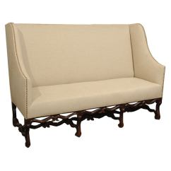 Antique Dining Chair Leg Styles Elegant Chairs High Back Sofa With Carved Walnut Base At 1stdibs