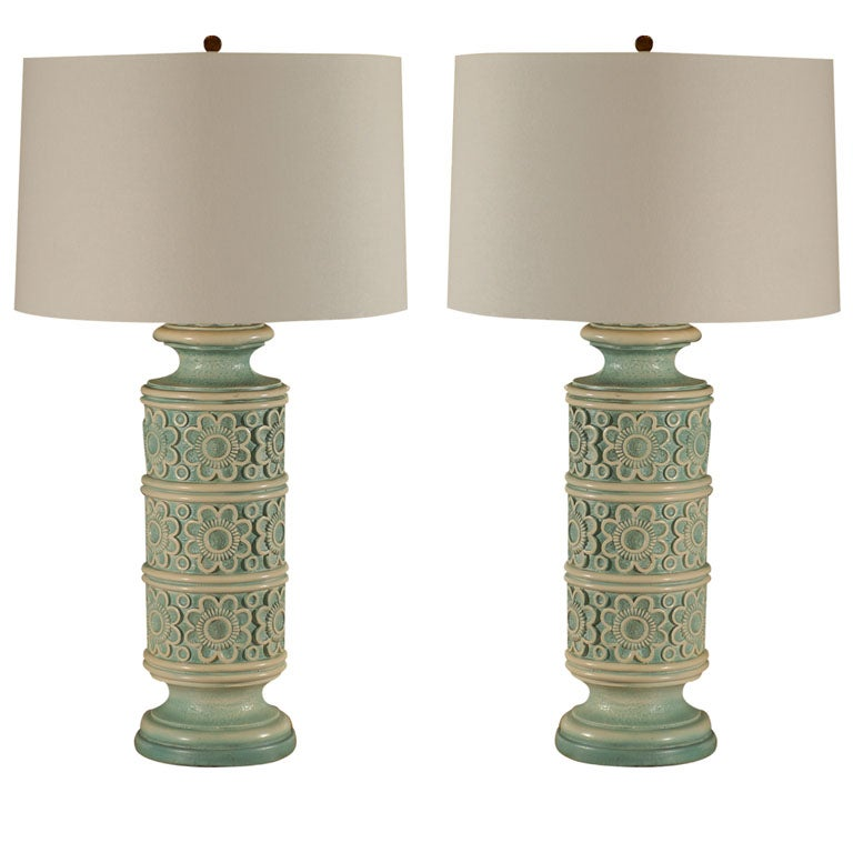 Pair Of Vintage Turquoise Lamps At 1stdibs