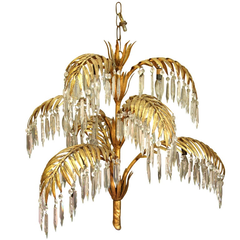 GOLD LEAF METAL AND CRYSTAL PALM FROND CHANDELIER At 1stdibs