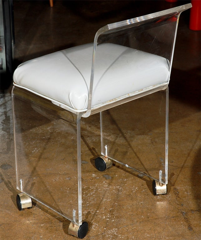 x rocker desk chair music studio lucite vanity with casters at 1stdibs