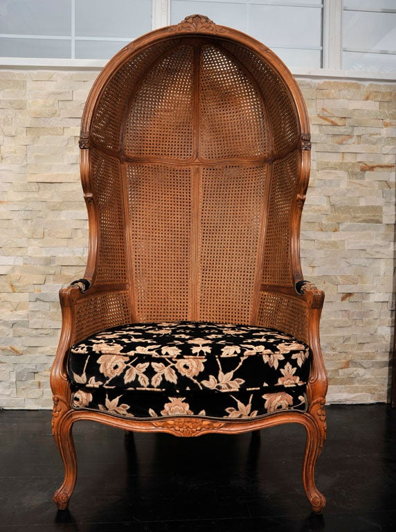 Pair of Porters Chairs by Weiman Hooded Chair at 1stdibs