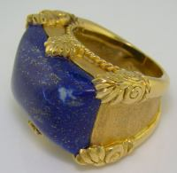 18K Yellow Gold and Lapis Large Men's Ring at 1stdibs