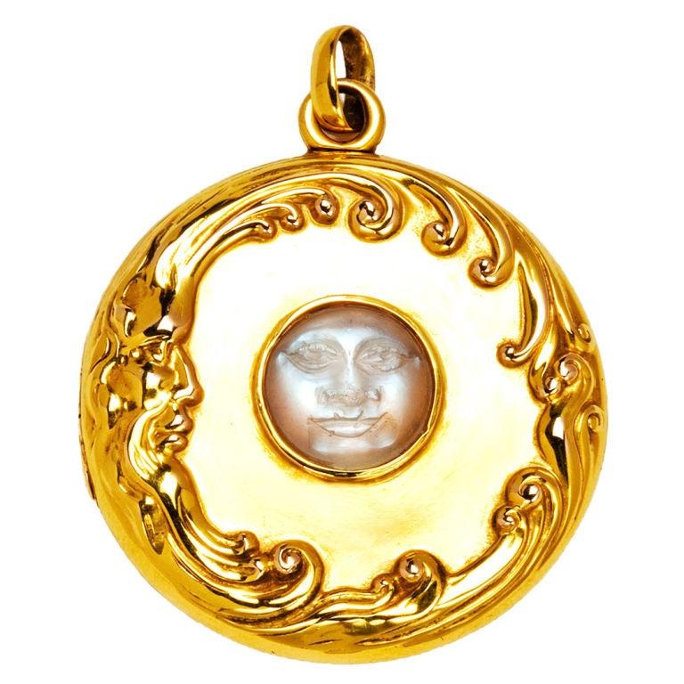 Man In The Moon Moonstone Gold Locket At 1stdibs