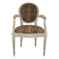 Pair,Louis XV1 Style Leopard Print Fauteuil Chairs. at 1stdibs