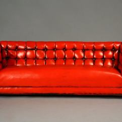 Leather Chesterfield Sofa For Sale This End Up Tufted Red At 1stdibs