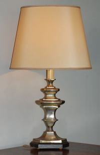 Exceptional French 40's silvered table lamp and shade at ...