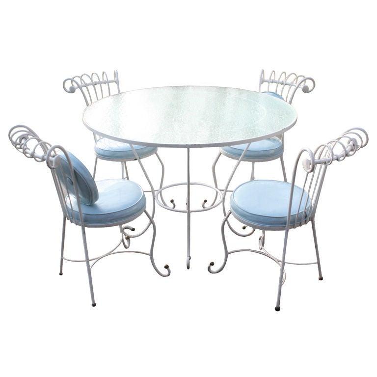 dorothy draper style 1940s wrought iron patio set
