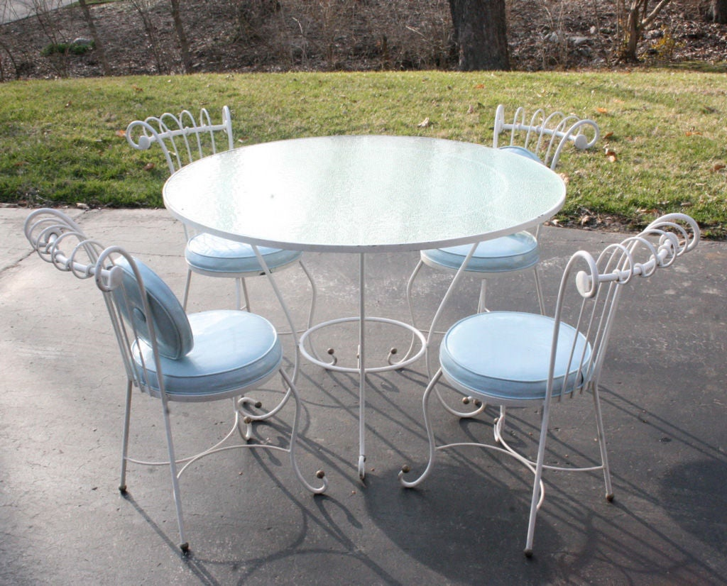 iron patio chair black dorothy draper style 1940s wrought set for sale