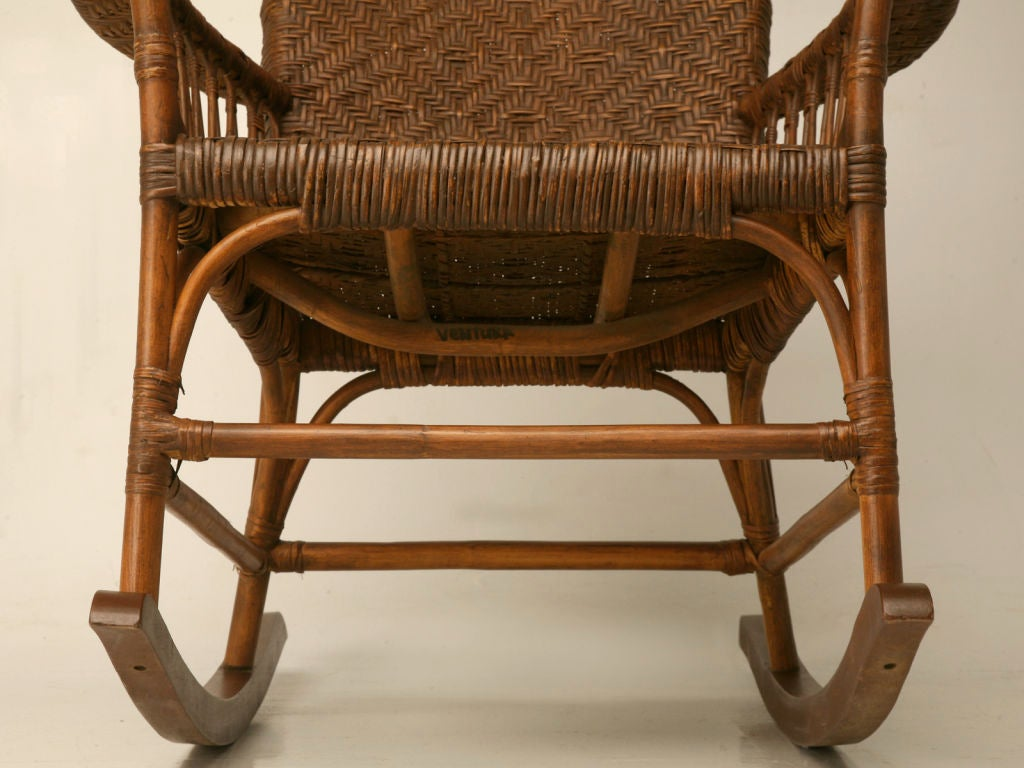 1920s rocking chair sling back c 1920 american hickory oak and rattan at