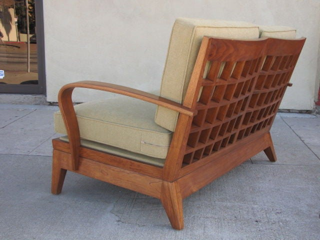 pink tufted sofa for sale bed lounge chaise grid back in teak and curved arms love seat by brown ...