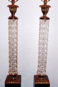 Molded Glass and Bronze Lamps For Sale at 1stdibs