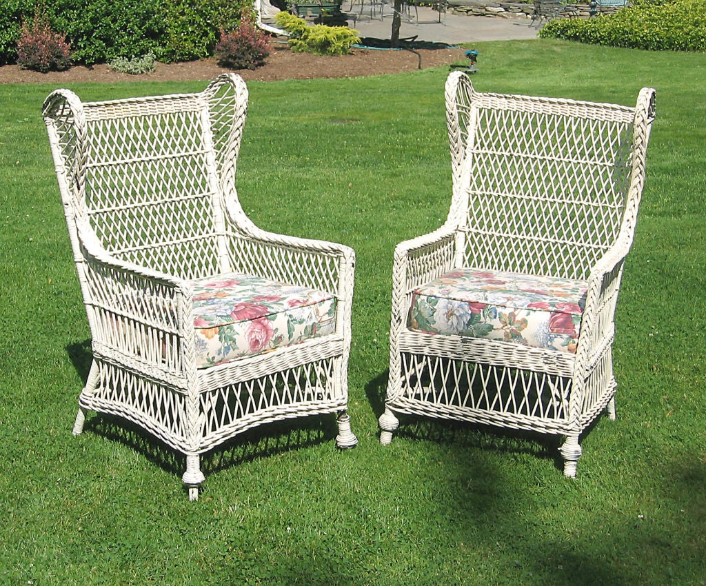 wicker wingback chairs chair with stand up assist matching pair bar harbor wing at 1stdibs